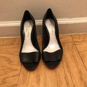Bettye Muller Black peep toe heels!!